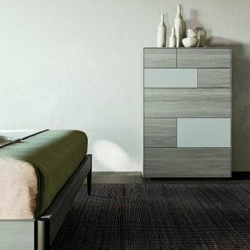 Camera da Letto Moderna a 4 Elementi in Stile Moderno Made in Italy - Lusinda