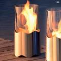 Caminetto a bioetanolo da tavolo in acciaio inox e vetro Leon