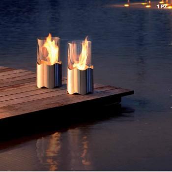 Caminetto a bioetanolo da tavolo in acciaio inox e vetro Leon, made in Italy