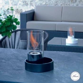 Caminetto a bioetanolo da tavolo in ceramica e vetro Jim, made in Italy