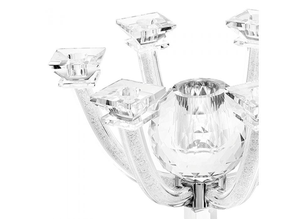 Candelabro in Cristallo con Strass Design a 7 Fiamme Lusso Italiano - Maike