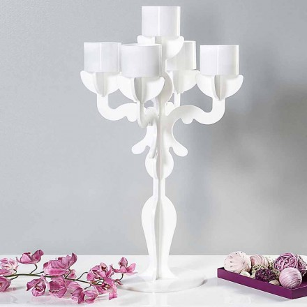 Candelabro medium design rinascimentale, 5 braccia in plexiglass Nuxis