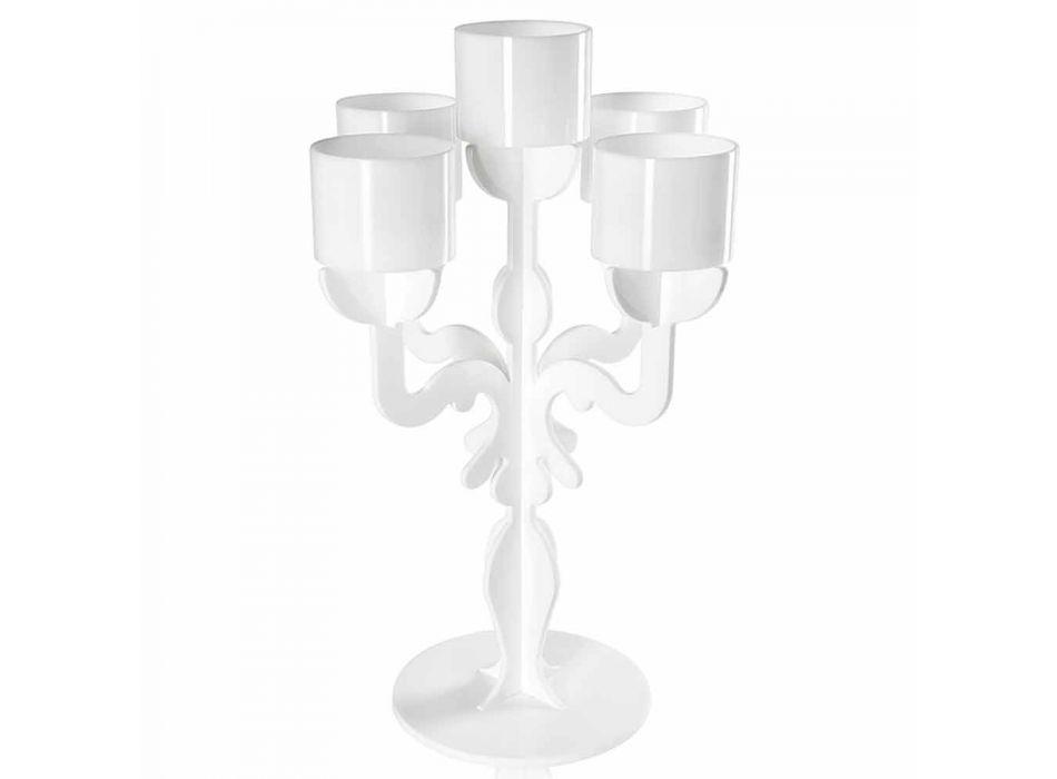 Candelabro medium design rinascimentale, 5 braccia in plexiglass Nulvi