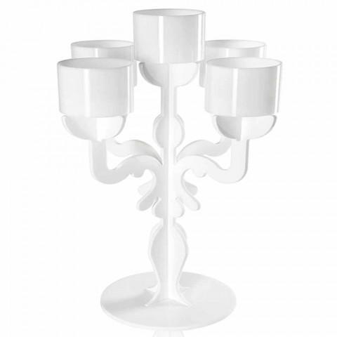 Candelabro small design rinascimentale, 5 braccia in plexiglass Nulvi