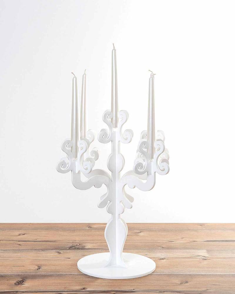 Candelabro tall design rinascimentale, 5 braccia in plexiglass Aragona