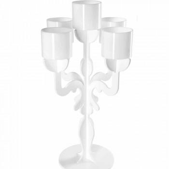 Candelabro tall design rinascimentale, 5 braccia in plexiglass Nulvi