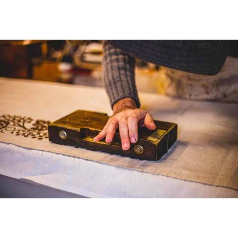 Canovaccio di Lino d'Artigianato Italiano con Disegno Stampato a Mano - Marchi