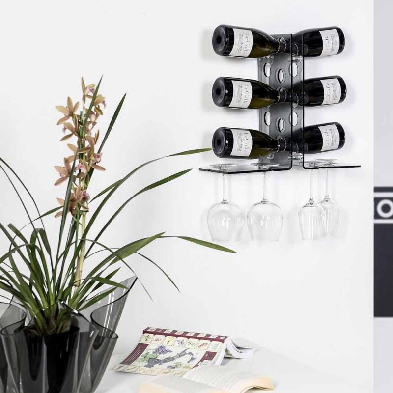 Cantinetta porta bottiglie da parete fumé Luna, design moderno