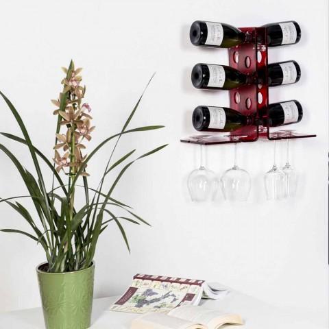 Cantinetta porta bottiglie da parete rosso Luna, design moderno