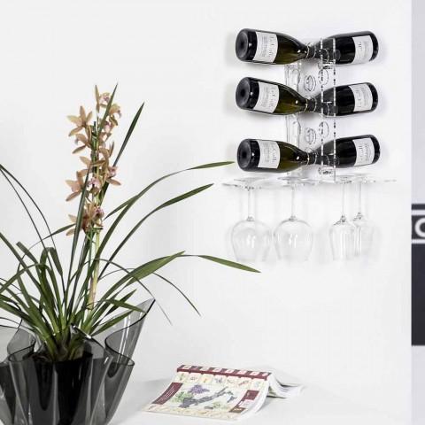 Cantinetta porta bottiglie da parete trasparente Luna, design moderno