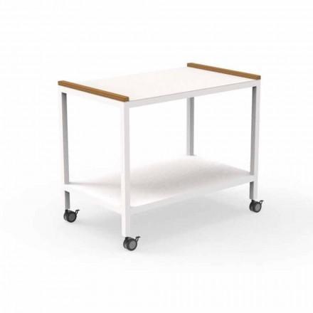 Carrello Cucina da Esterno in Alluminio e Teak 2 Ripiani - Cart by Talenti
