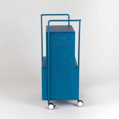Carrello di Design in Acciaio con Piano in Frassino Made in Italy - Murella