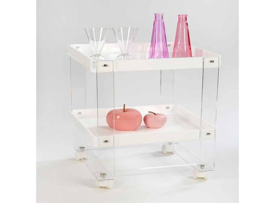 Carrello portavivande di design, con due ripiani, in plexiglass Diso
