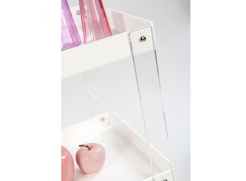 Carrello Portavivande in Plexiglass Bianco Riciclabile 2 Ripiani - Diso