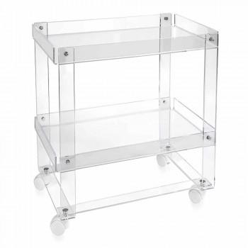 Carrello portavivande moderno a 2 ripiani L 60,5cm in plexiglass Diso