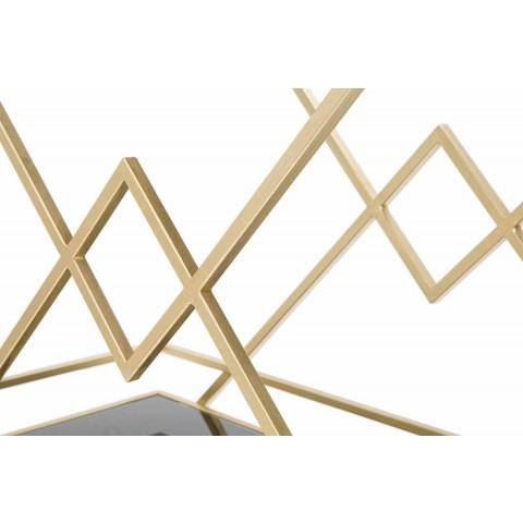 Carrello Portavivande Rettangolare di Design in Ferro MDF e Specchio - Corinne