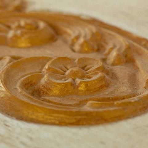 Cassapanca Fatta a Mano in Legno Massello con Profili Oro Made in Italy - Caio