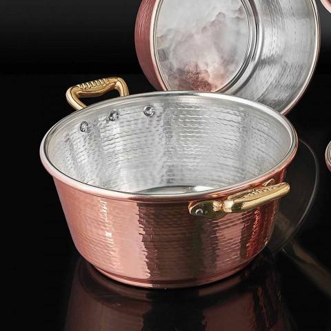 Casseruola in Rame da Forno Conica Stagnata a Mano e Coperchio 28 cm - Marialuna
