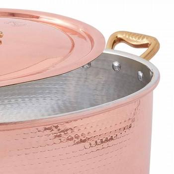 Casseruola in Rame Ovale Stagnato a Mano da Forno e Coperchio 27x20 cm - Mariag