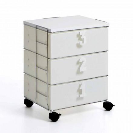 Cassettiera 3 cassetti con maniglie numeriche e rotellebianca Yodi