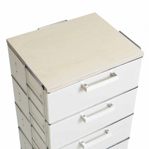 Cassettiera 6 cassetti e top in legno naturaleIrma