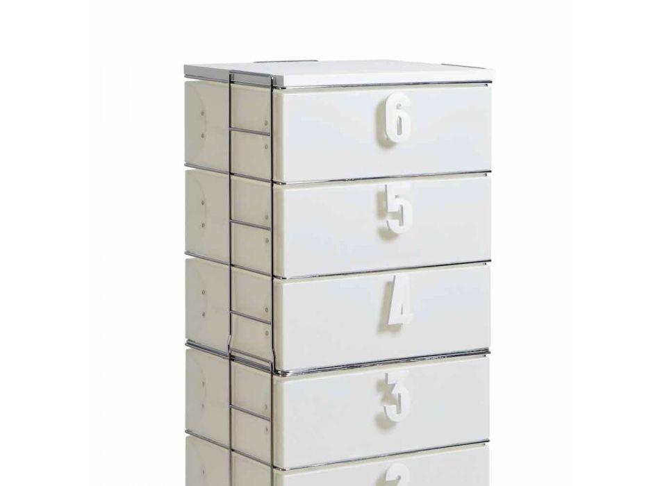 Cassettiera 6 cassetti in MDF bianca con maniglie numeriche Yodi
