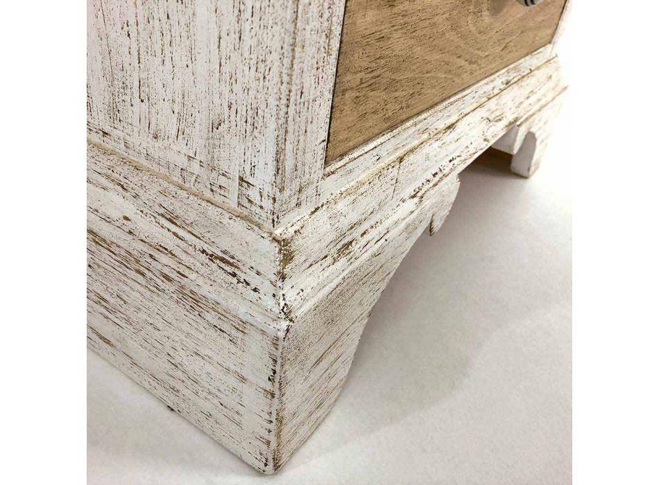 Cassettiera Artigianale a 4 Cassetti in Legno Bianco Made in Italy - Manhattan