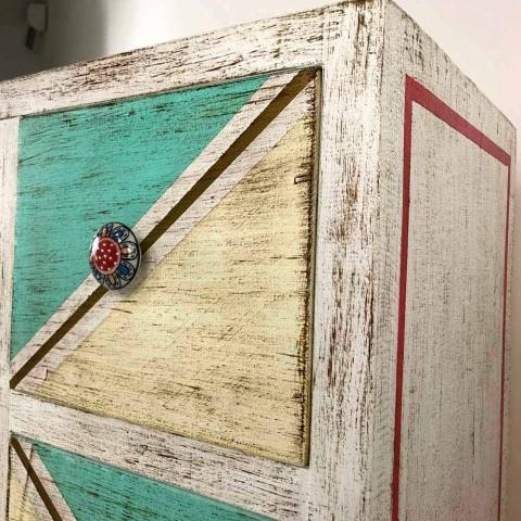 Cassettiera Artigianale in Legno con Cassetti Colorati Made in Italy - Brighella