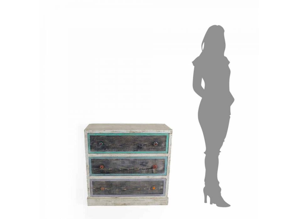 Cassettiera Artigianale in Legno di Abete con 3 Cassetti Made in Italy - Monkey