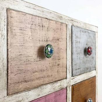 Cassettiera Artigianale in Legno Massello con 9 Cassetti Made in Italy - Pierrot