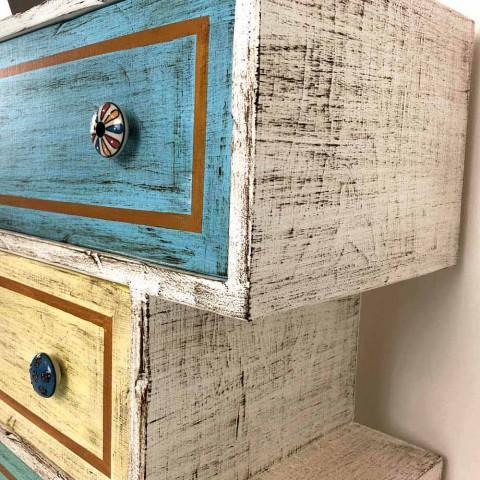 Cassettiera con Cassetti Colorati e Pomelli in Ceramica Made in Italy - Hendriks