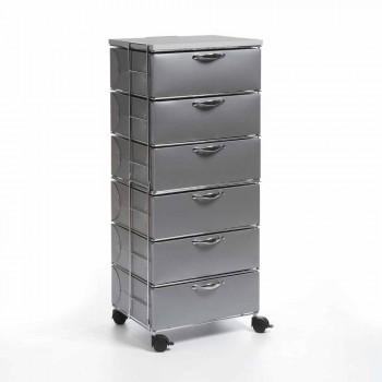 Cassettiera di design 6 cassetti in polipropilene bianco/grigio Adamo