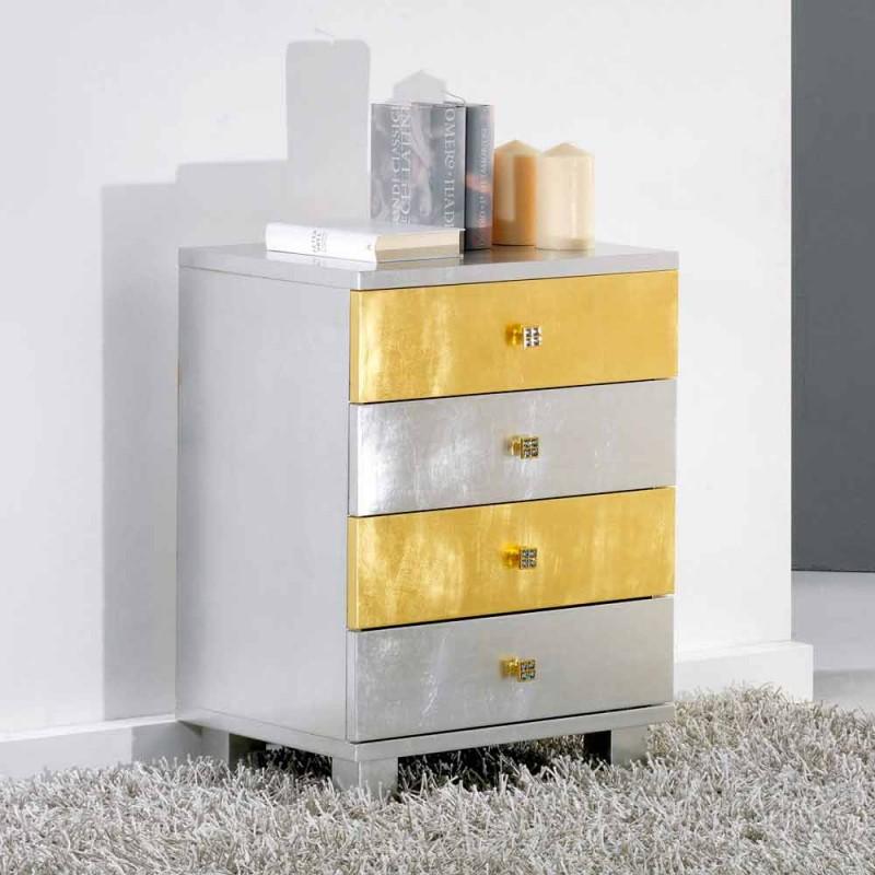 Cassettiera di design argento e oro in legno Etty, made in Italy