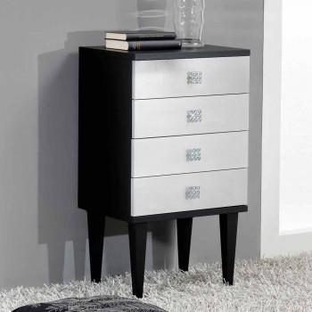 Cassettiera di design in legno con 4 cassetti nera e argento Etty