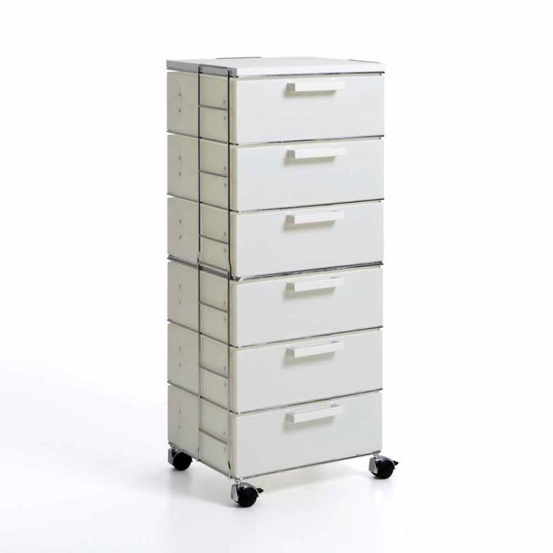 Cassettiera moderna 6 cassetti bianco perla e top in mdf Valerie