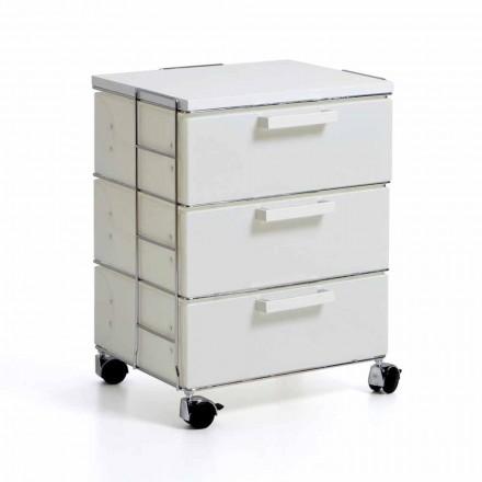 Cassettiera moderna con 3 cassetti bianchi e top in mdfValerie