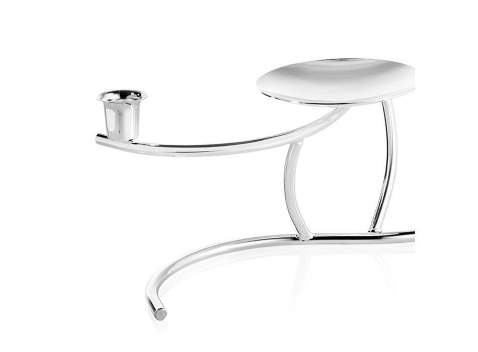 Centrotavola con Porta Candele 2 Fiamme in Metallo Argentato di Design - Kameo