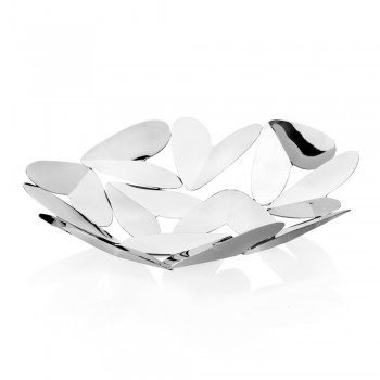 Centrotavola Design Elegante con Cuori Metallo Argentato Made in Italy - Arlan