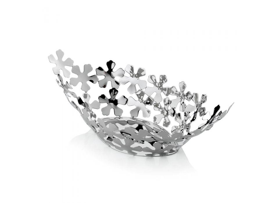 Centrotavola Design in Metallo Argentato con Decori a Fiore di Lusso - Megghy