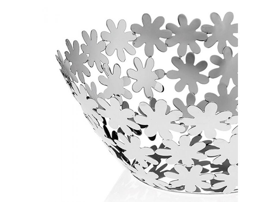 Centrotavola Design in Metallo Argentato e Decoro a Fiore di Lusso - Terraceo