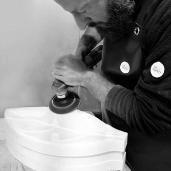 Centrotavola in Marmo Arabescato dalla Forma a Foglia Made in Italy - Treviso