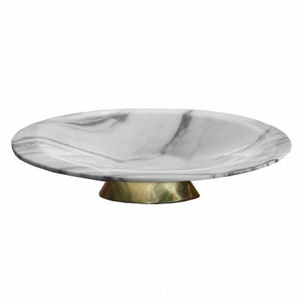 Centrotavola in Marmo Brezza della Versilia e Metallo Made in Italy - Amabile