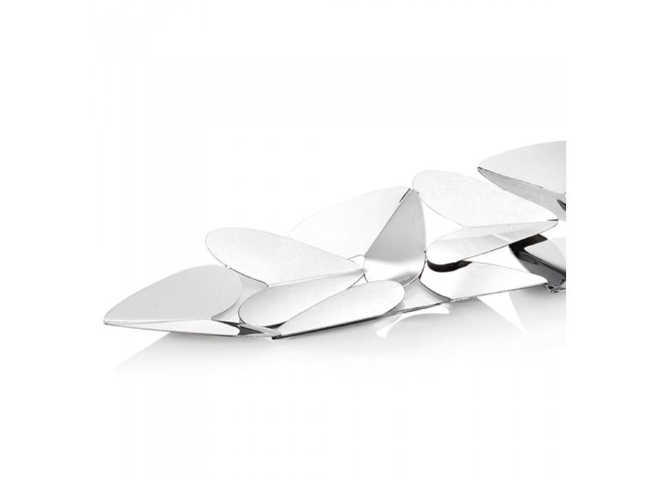 Centrotavola Lineare con Cuori Metallo Argentato Design Italiano - Arlan