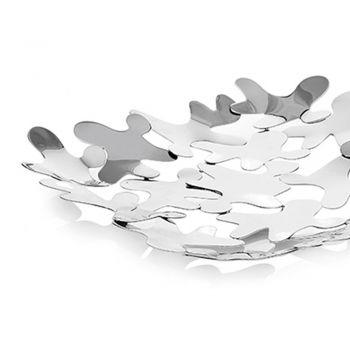 Centrotavola Quadrato Design Contemporaneo Metallo Argentato Decorato - Cordoba