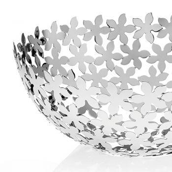 Centrotavola Semisfera in Metallo Argentato Decori a Fiore di Lusso - Terraceo