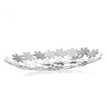 Centrotavola Svuotatasche in Metallo Argentato Decoro Fiore di Lusso - Pinko