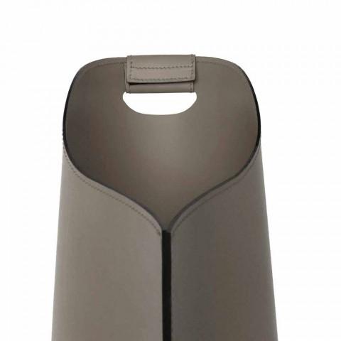 Cesto porta pellet da interno in cuoio 15 Kg di design Sapel