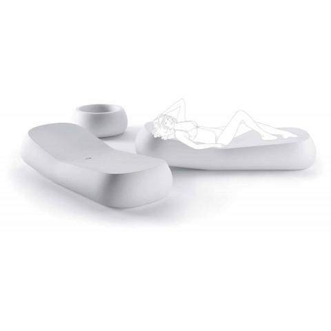 Chaise Longue da Esterno di Design in Polietilene Bianco Made in Italy - Ervin