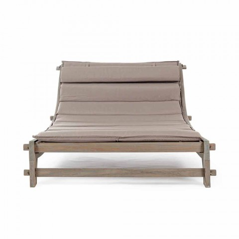 Chaise Longue da Esterno di Design Moderno in Legno Teak Homemotion - Giobbe