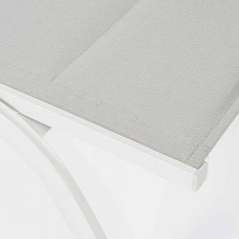Chaise Longue da Esterno in Textilene e Alluminio con Ruote, 4 Pezzi - Babilonia
